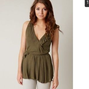 NWT Free People Army Green Blouse